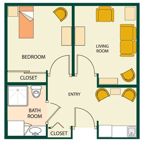 one room apartment floor plans apartment floor plans one bedroom one room floor plan for