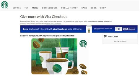 Buy A Visa E Gift Card - make money or more coffee 10 for 20 starbucks 1k marriott points for new users