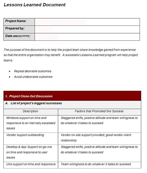 lessons learned template excel doc 12751650 lessons learned template lessons learned
