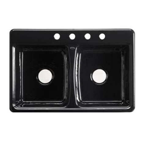 black cast iron kitchen sink kohler deerfield self cast iron 33x22x8 625 4
