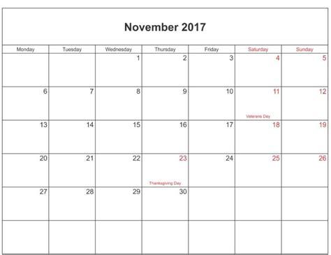 Calendar Template November 2017 Excel November 2017 Calendar Excel Calendar Template Letter