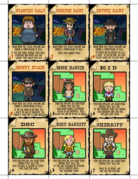 printable werewolf cards boot hill heroes werewolf mafia style party game