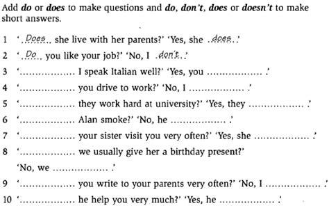 preguntas largas en presente perfecto present simple en ingles forma negativa y preguntas