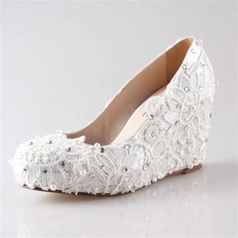 Ivory Pumps Wedding by Ivory Lace Wedge Shoes For Outdoor Wedding Closed
