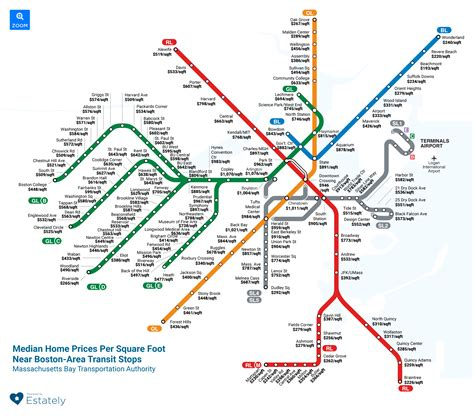 boston map with t stops map shows how much it costs to live near each of boston s