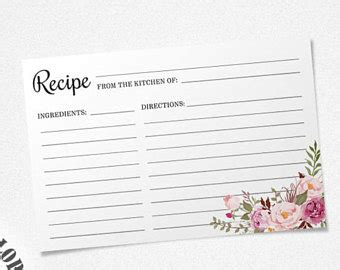 Typeable Recipe Card Template Etsy by Recipe Card Template Etsy