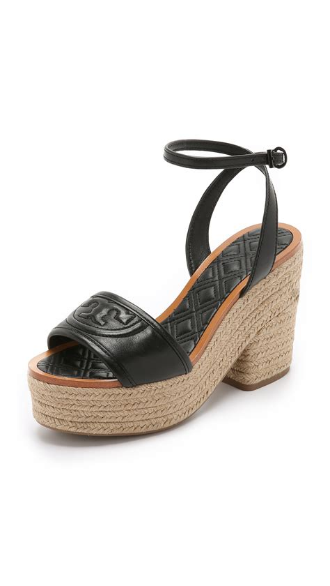 burch sandal burch marion quilted espadrille sandals in black lyst