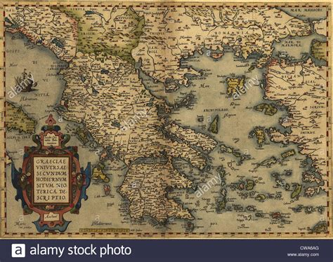 Ottoman Empire Greece 1570 Map Of Greece Then The Rule Of The Ottoman Empire From Stock Photo Royalty Free
