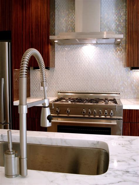 iridescent tile backsplash favorite places spaces