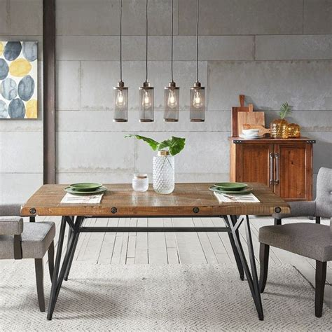 trestle dining gathering table solid wood metal rustic