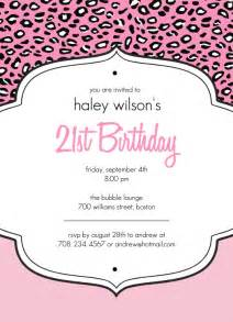 21st invite templates 21st birthday invitations pink cheetah print 21st