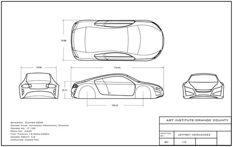 9 Drawings For Projection by Orthographic Car Orthographic Drawing Cars