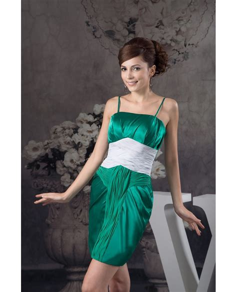 green  white short tight satin cocktail dress
