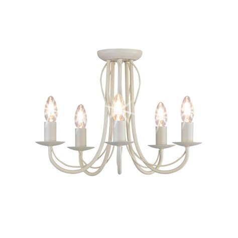 Wilko 5 Arm Chandelier Metal Ceiling Light Fitting Cream Ceiling Chandelier