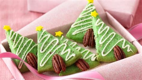 pecan shortbread christmas tree cookies recipe from betty