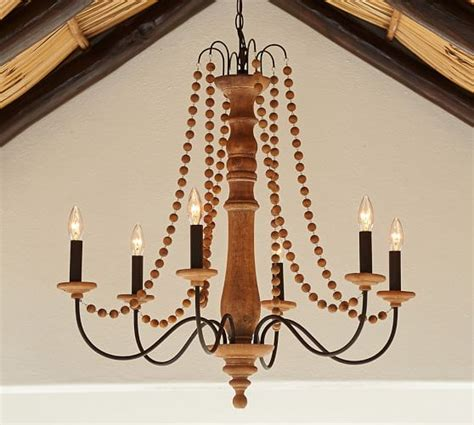 Pottery Barn Chandeliers Turned Wood Indoor Outdoor Chandelier Pottery Barn