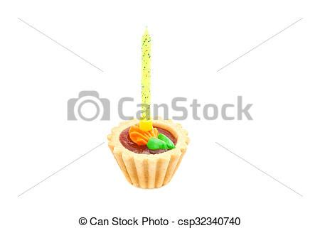 cake with yellow birthday candle on white background stock