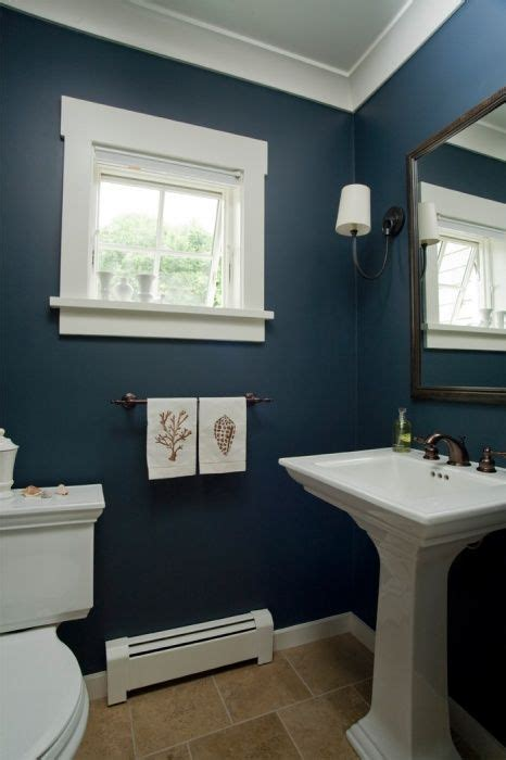 Navy Blue Bathroom Ideas Coastal Home Seaside Home Bathroom Pedestal Sink Nautical Towels Custom Trim
