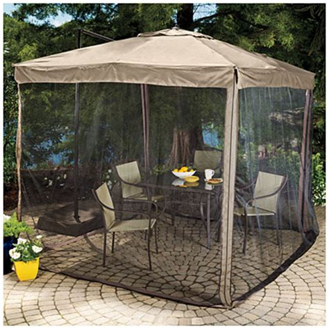 Patio Umbrella With Netting Wilson Fisher 8 5 X 8 5 Square Offset Umbrella With