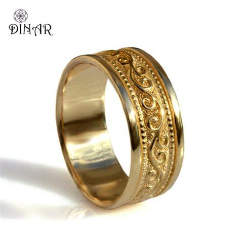 scrolls 18k yellow gold wide wedding band unisex gold