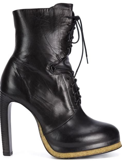laced up high heel boots vic mati 233 high heel lace up boots in black lyst