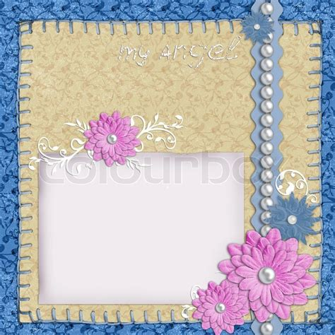 flower design using colored paper scrapbook layout in blue and beige colors with paper