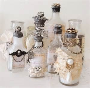 Shabby chick decorated bottles