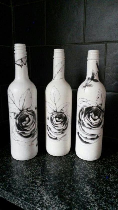 decoupaged bottles shabby chic vintage flaskor