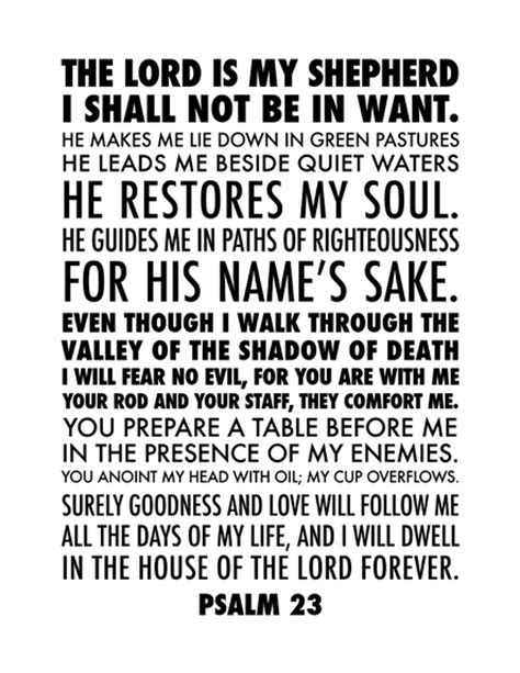 bible text with the blessings free psalm 23 printable words pinterest psalm 23 and