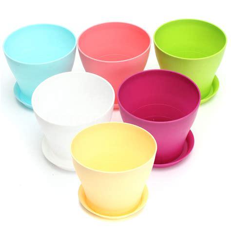 flower pots gloss plastic plant pots planter saucer tray