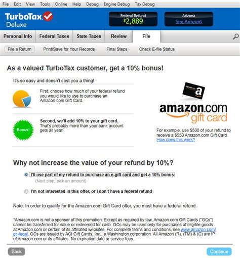 Can You Return Amazon Gift Cards - amazon com turbotax deluxe fed efile state 2013 refund bonus offer old version
