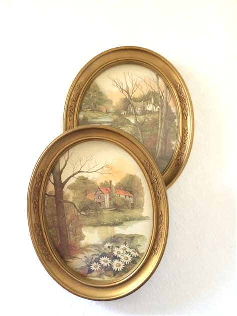 Oval Wall Decor by Cottage Wall Vintage Homco Gold Oval Frames Landscape