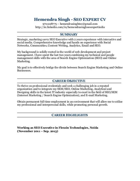 Seo Resume Sample Download   Sample Resume