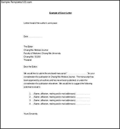 medical journal cover letter word format free download