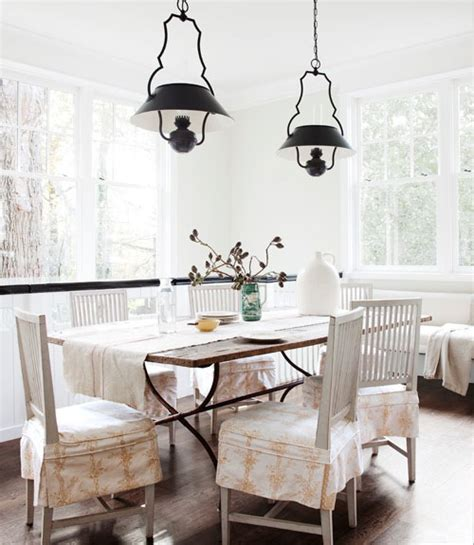 Statement Lighting For The White Dining Room | gustavian chairs cottage dining room benjamin moore