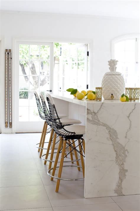 waterfall island kitchen 29 quartz kitchen countertops ideas with pros and cons
