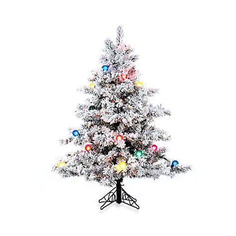 vickerman snowy alaskan cluster tree vickerman flocked alaskan pine pre lit tree with multicolor lights bed bath beyond