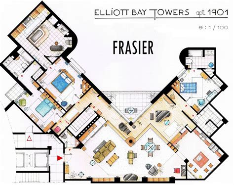 Two And A Half Men House Floor Plan by Birds Eye Views Of 16 Famous Tv Show Residences