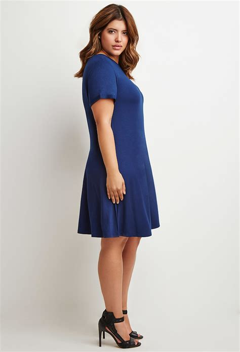 A Line T Shirt Dress lyst forever 21 plus size a line t shirt dress in blue