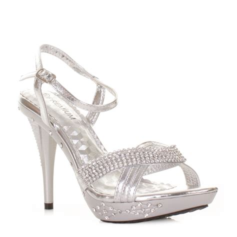 silver high heels for wedding silver high heel diamante prom wedding embellished