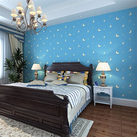 Light Blue Wallpaper Bedroom Sky Blue Color Moon Children Bedroom Non Woven Wallpaper Roll Boy S Bedroom Wall