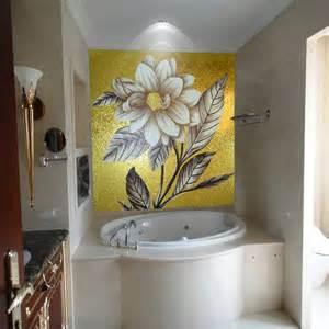 glass wall murals gold background art glass mosaic flowers mural wall tiles