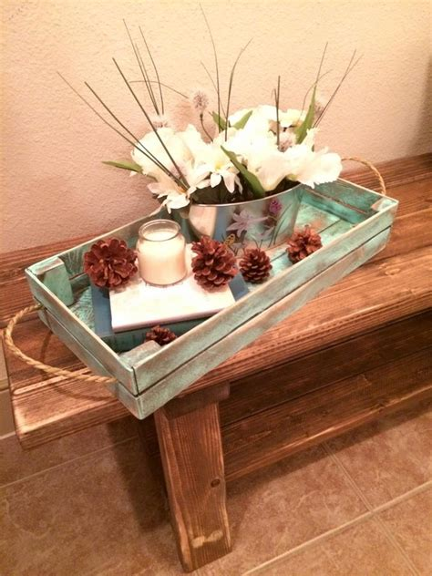 distressed white decorative tray rustic tray by purehomeworks distressed turquoise decorative tray rustic tray by