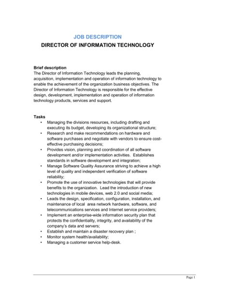 Vp Technology Description by Director Of Information Technology Description Template Sle Form Biztree