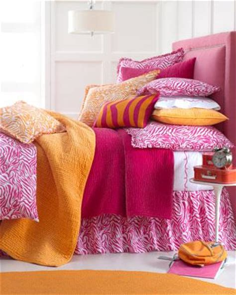 orange and pink bedding zabrina bed linens neiman marcus