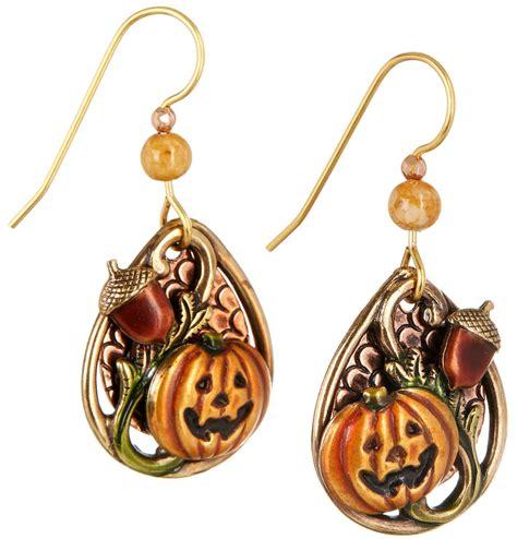 silver forest fall harvest pumpkin dangle earrings orange