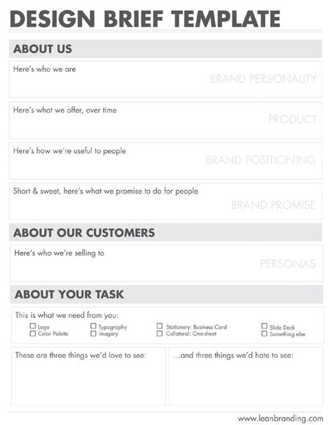 visual communication design brief template 22 best creative brief exles images on pinterest