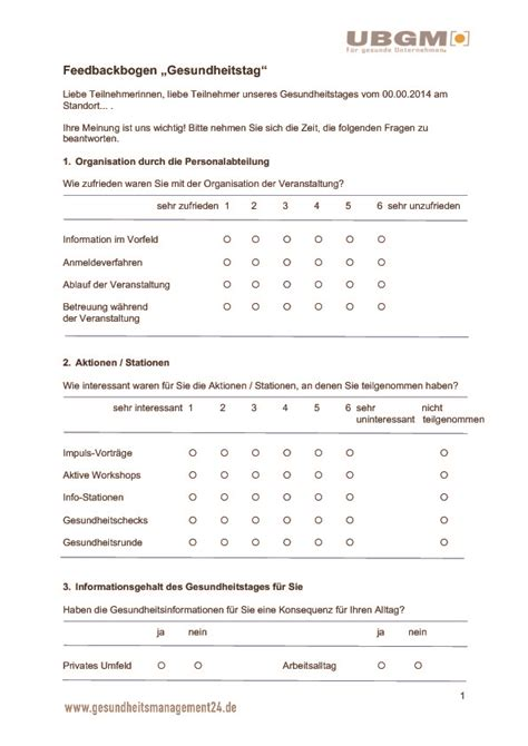 Feedback Praktikum Vorlage Ubgm 187 Vorlage Feedbackbogen Gesundheitstag