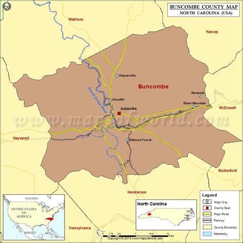 map of the carolinas usa buncombe county map carolina