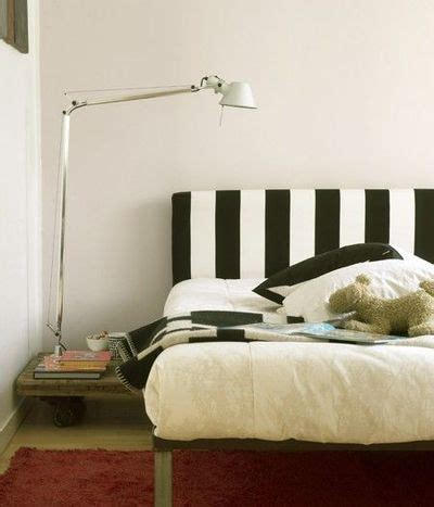 Black And White Striped Headboard For The Bedroom